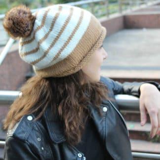 tricoter un bonnet rayures
