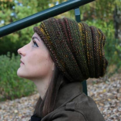 tricoter un bonnet slouchy au point de godrons