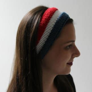 tricoter un bandeau tricolore bleu blanc rouge