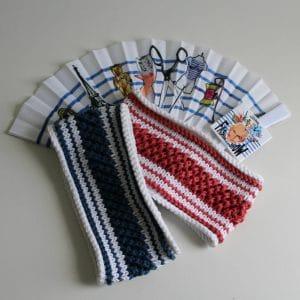 patron de tricot pour un bandeau en coton de style marinière