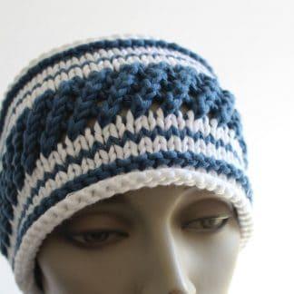 tutoriel pour un bandeau style marinière à tricoter en coton