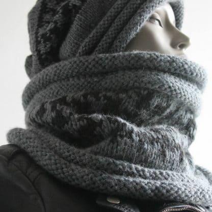 patron de tricot pour tricoter diy un snood motif pied de poule avec une aiguille circulaire