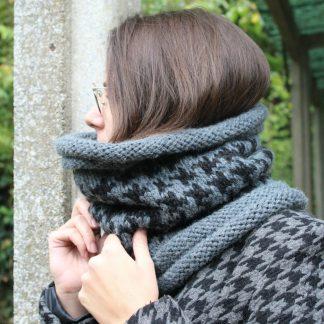 comment tricoter un snood motif pied de poule avec des aiguilles circulaires 7 et 8