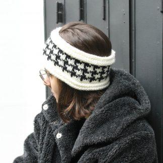 comment tricoter un bandeau headband avec un motif pied de poule
