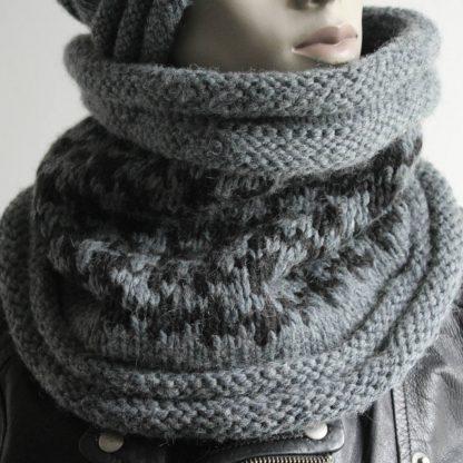 comment tricoter un snood en jacquard motif pied de poule