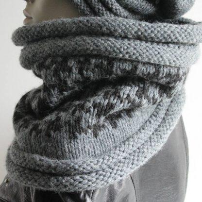 comment tricoter un snood motif pied de poule avec une aiguille circulaire