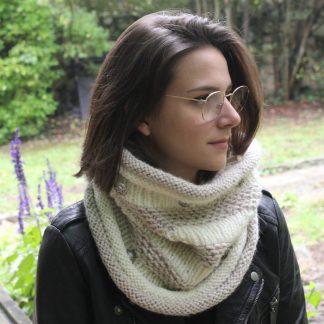 tricoter un col snood en grosse laine avec une aiguille circulaire 7