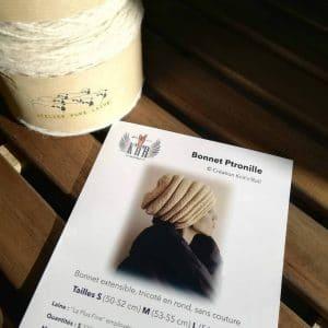 kit tricot bonnet Ptronille laine la plus fine atelier pure laine